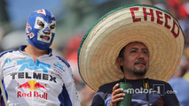 A masked fan and a Sergio Perez, Sahara Force India F1 fan
