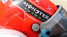 Monster energy sponser on the helmet of Michael Schumacher (GER), Mercedes GP Petronas, Bahrain Grand Prix, 13.03.2010 Sakhir, Bahrain