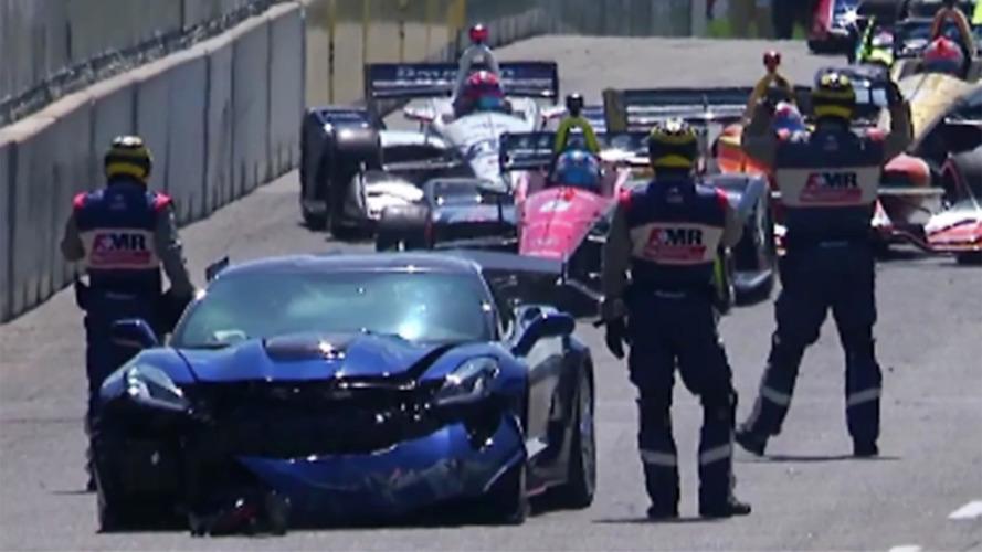 GM Exec Crashes Corvette ZR1 On Parade Lap Of Detroit IndyCar Race