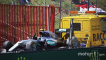 The Mercedes AMG F1 W07 Hybrid of Nico Rosberg is recovered