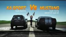Vídeo: Novo KA Sport enfrenta o muscle-car americano Mustang