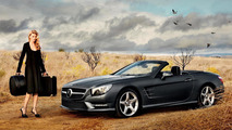 Mercedes SL Roadster and Supermodel Lara Stone