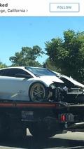 Rare Lamborghini Murcielago loses front end in crash