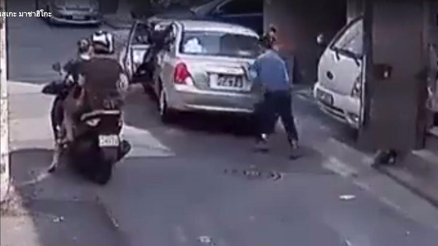 Good Samaritan Saves Runaway Car By Crashing It