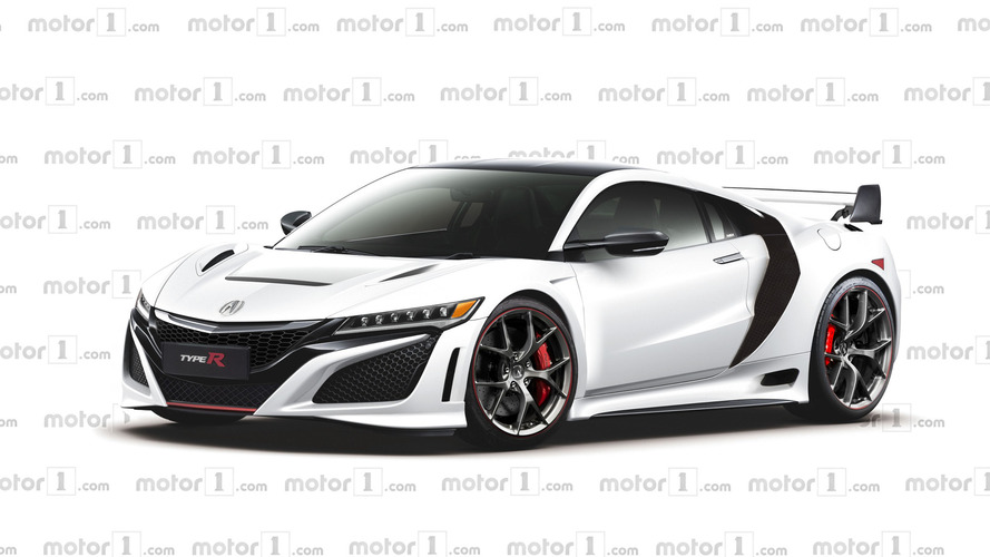 Honda NSX Type R rendered with larger intakes and a wing