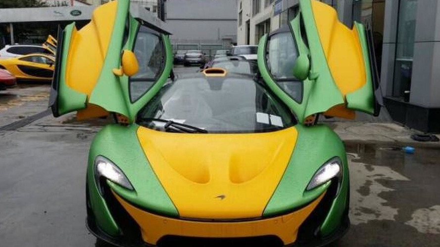 McLaren P1 with tacky colorful livery photographed in China