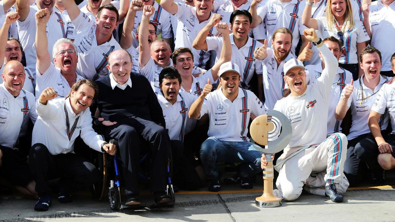 Third placed Valtteri Bottas (FIN) Williams celebrates his first podium finish with the team, 22.06.2014, Austrian Grand Prix, Spielberg / XPB