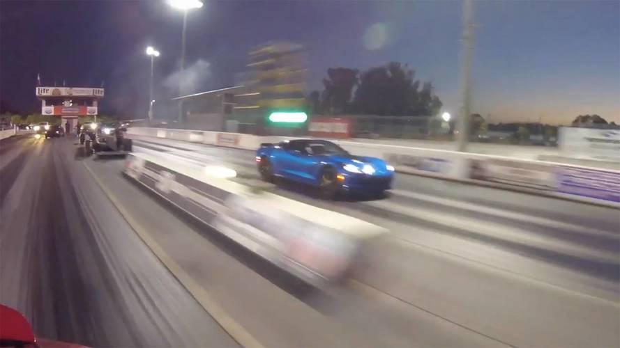 Watch Tesla Model X P100D Crush Blue Chevy Corvette Z06 In Race