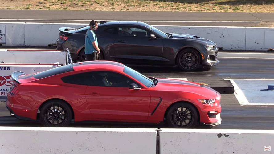 Stock Camaro ZL1 And Mustang Shelby GT350 Battle At The Strip