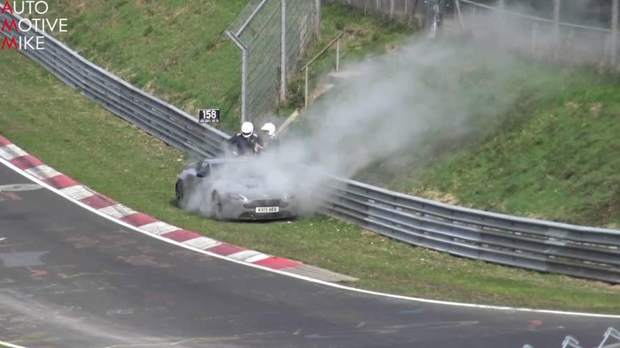 Aston Martin V12 Vantage breaks down at the Nurburgring