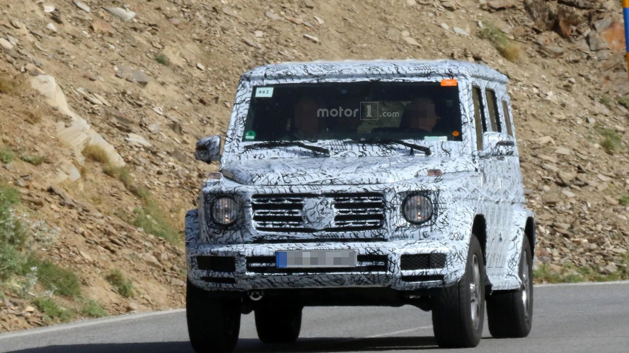 Next-gen G-Class spied outside the gates, looks wider