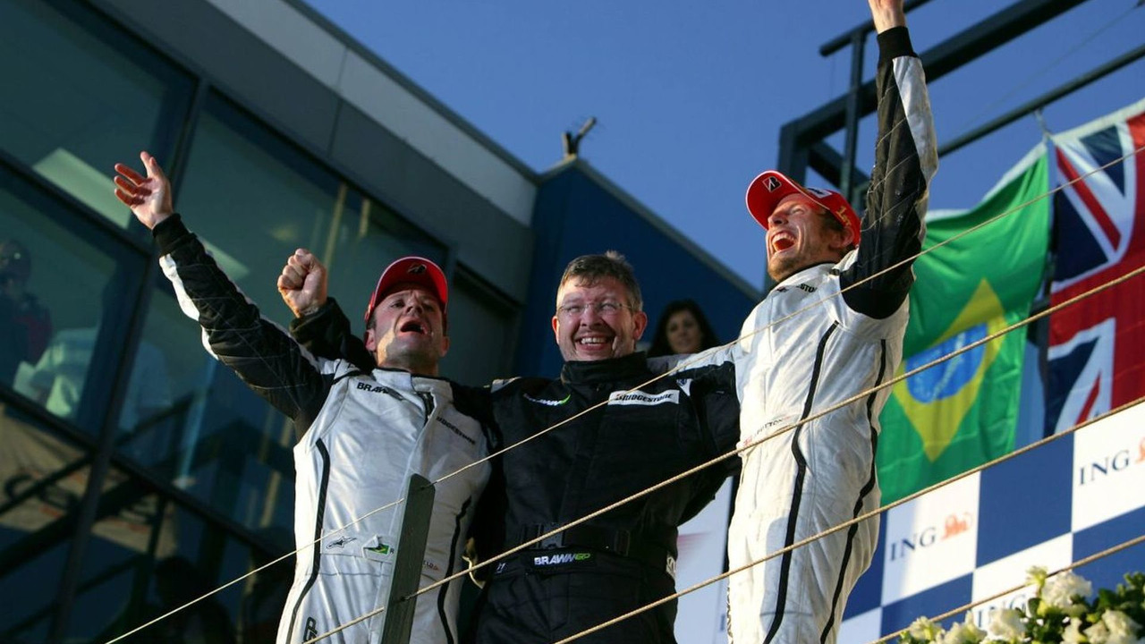Rubens Barrichello, Ross Brawn, Jenson Button on the podium, Albert Park, Melbourne, Australia 29.03.2009