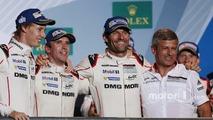 Podium: race winners Timo Bernhard, Mark Webber, Brendon Hartley, Fritz Enzinger, Vice President LMP1, Porsche Team